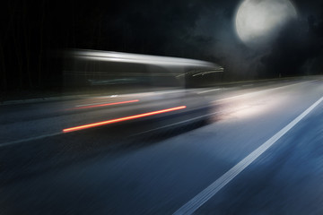 Papiers peints Autoroute nuit Car goes on the high speed on night highway