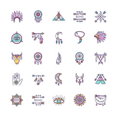 Deurstickers Boho Stijl Boho style RGB color icons set. Native American Indian amulets. Dreamcather ethnic charms. Hippie and bohemian accessories. Esoteric symbols. Vintage pendant. Isolated vector illustrations