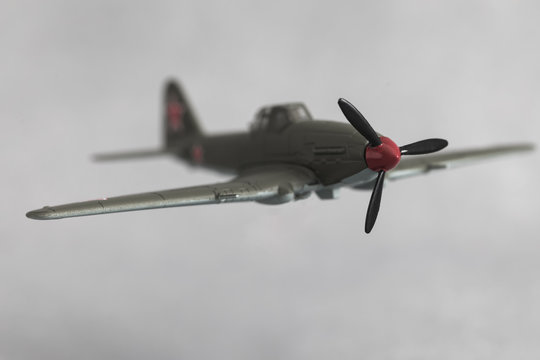 Old Soviet military aircraft model, Victory Day, May 9, selective focus, toned vintage