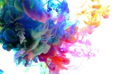 Fototapete - 4K, Colorful drops in water, abstract color mix, drop of Ink color mix paint falling on water Colorful ink in water, 4K footage,