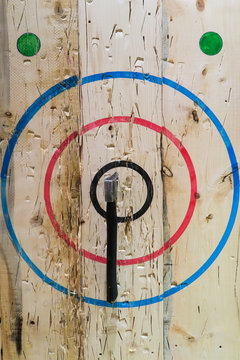 An axe stuck in the middle of the bullseye during an axe-throwing competition