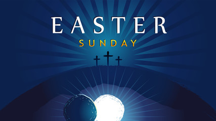 Easter Sunday - He is risen, tomb and three crosses. Easter invitation for service holy week with typography on blue beams background. Cross, Calvary and text. Vector illustration