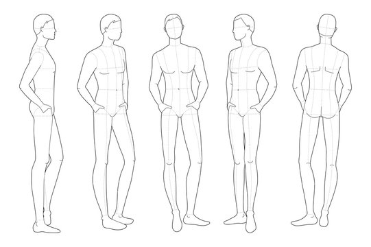 Fashion template of relaxing stand men.