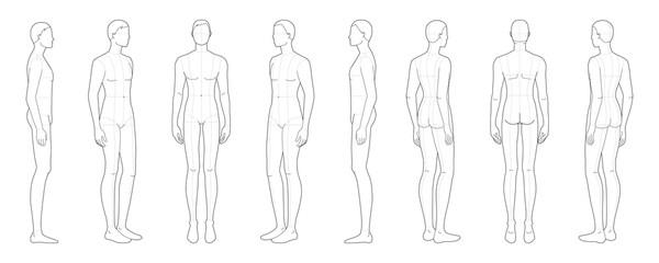 Fototapeta Fashion template of standing men.  obraz