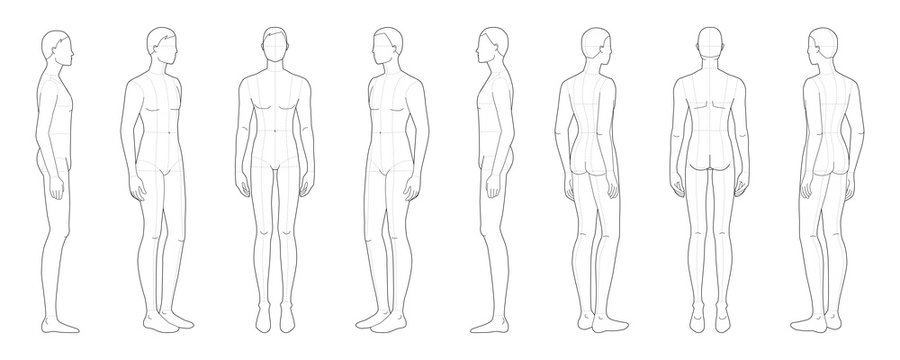 Fashion template of standing men.