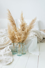 Pampas dry grass in blue vases in white bedroom