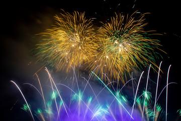Fireworks of Mujib100 celebration at national parliament of Bangladesh.