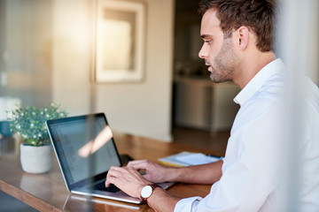 Young businessman working remotely from home using his laptop