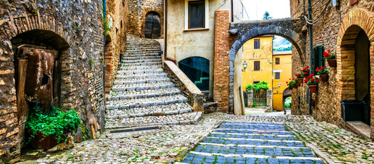 Fototapeta Traditional medieval villages of Italy - picturesque old floral streets of Casperia, Rieti province