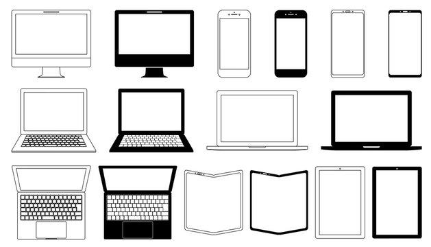 コピースペースのあるデスクトップ・ノートパソコン・スマホ・タブレットモノクロセット白背景
