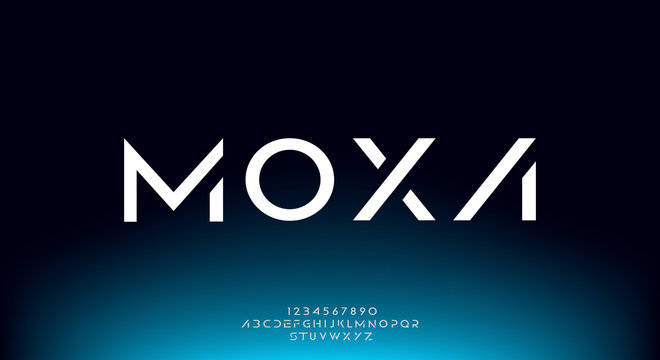 Moxa, an Abstract technology futuristic alphabet font. digital space typography vector illustration design