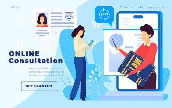 Legal advice online service, lawyer website vector illustration. Professional law attorney consultation online, legal assistance in business. Lawyer advice round the clock, landing page, people