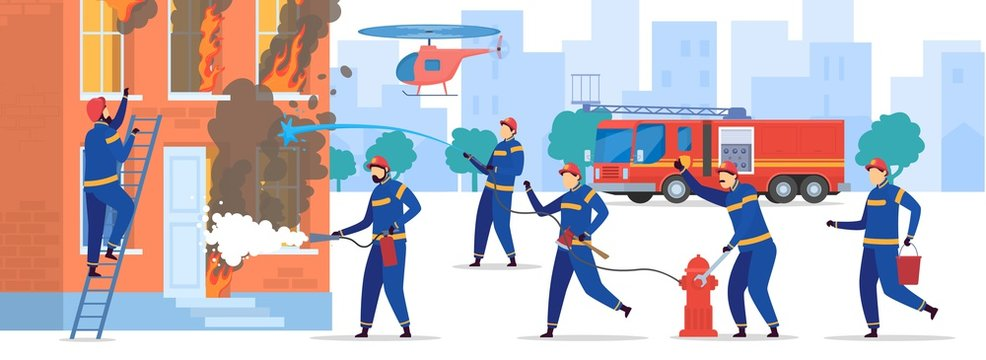 Brave firefighters extinguish fire in house, vector illustration. Professional team of firemen working together, people cartoon characters. Burning house, emergency rescue, firefighters in uniform