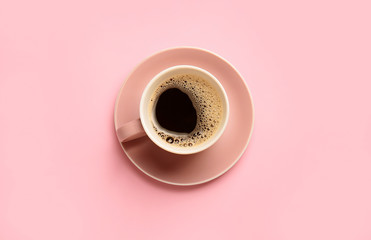 Photo sur Toile Cafe Cup of hot coffee on color background