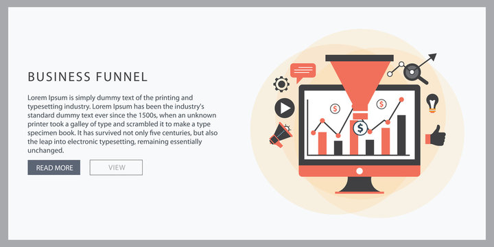 Business funnel conversion marketing digital sales funnel flat vector with marketing icons