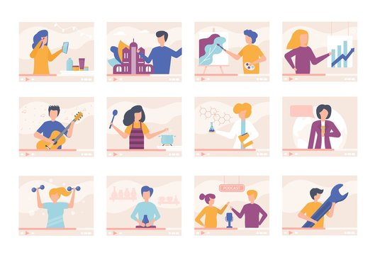 Video tutorials blogger people online training videos vector illustration set. Men, women talk about cooking, traveling, beauty, give lessons in playing guitar, drawing, fitness. Online cast streaming