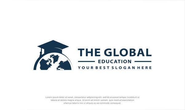 global education logo design. globe element. education logo. vector illustration concept