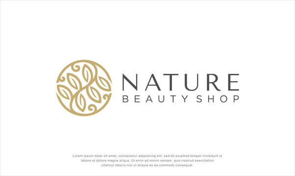 nature beauty logo design. botanical element. floral. abstract. beauty care logo. vector illustration concept