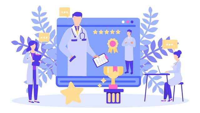 Doctor with best rating prize award vector illustration. Choosing top rated best doctor with highest five star scores reviews. Health care, medical clinic or hospital and people staff isolated banner.