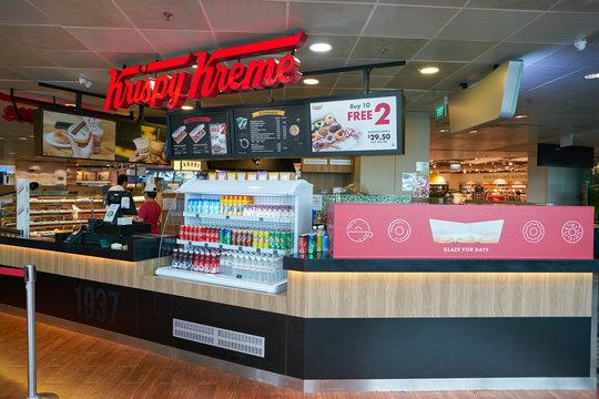 SINGAPORE - CIRCA APRIL, 2019: Krispy Kreme at Singapore Changi Airport.