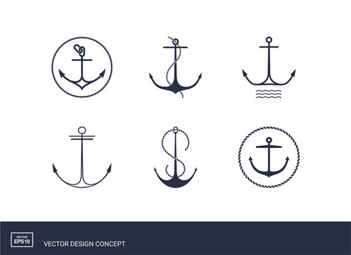 Set of anchor emblems. Modern minimal flat design style. Simple logotype template. Vector illustration.