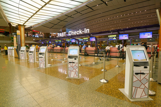 SINGAPORE - CIRCA APRIL, 2019: self check-in kiosks at Changi International Airport.