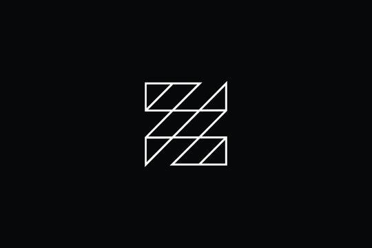 Minimal elegant monogram art logo. Outstanding professional trendy awesome artistic ZS SZ initial based Alphabet icon logo. Premium Business logo White color on black background