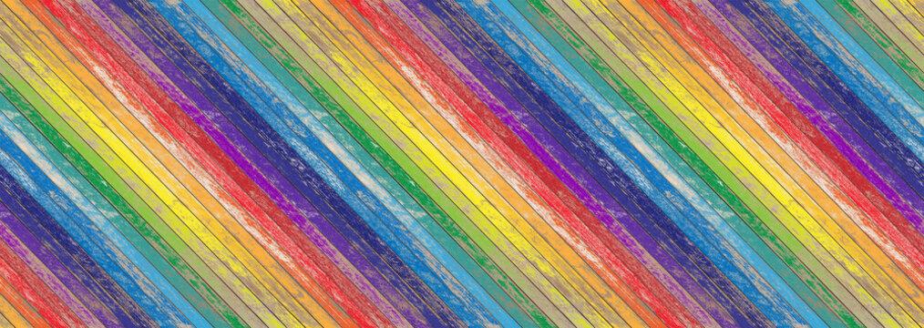 Bois bandes obliques couleurs arc-en-ciel