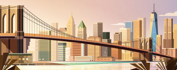 Brooklyn bridge city scene Fototapete