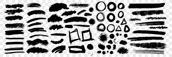 Brush hand drawn scribbles underlines, circles set collection