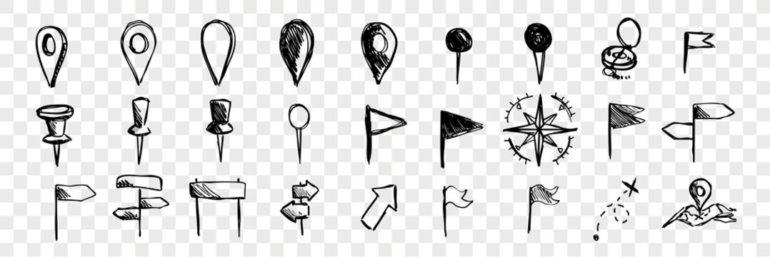 Hand drawn logistic navigation icons, doodle set collection