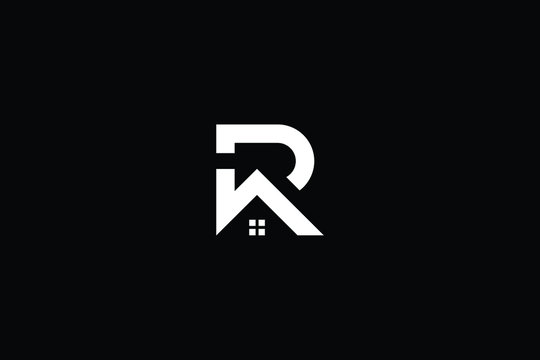 Logo design of R P in vector for construction, home, real estate, building, property. Minimal awesome trendy professional logo design template on black background.