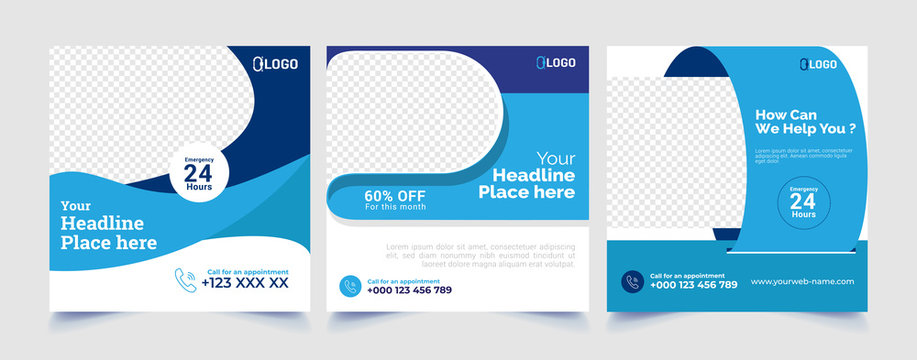 Healthcare post template. Medical promotion square web banner. Mail newsletter layouts. Social media healthcare post. Special offer banner. Sale and discount backgrounds. Medical vector template