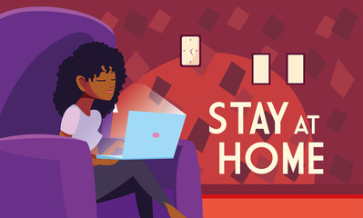 Poster Positive Typography stay at home awareness social media campaign and coronavirus prevention, woman in the living room