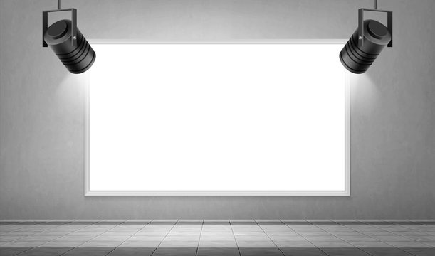 Empty white frame and hanging spotlights in museum or gallery hall. Vector realistic mockup of studio interior with blank picture with border on wall illuminated by lamps