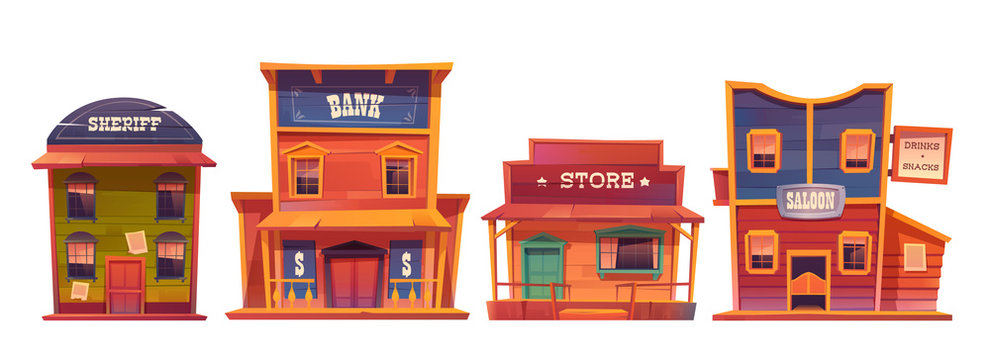 Wild west buildings set. Saloon, bank, sheriff and store wooden traditional western architecture isolated on white background. House exterior, cowboy style design, Cartoon vector clip art