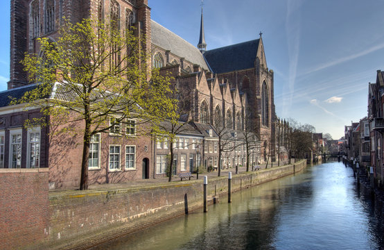 Canal and Church in Dordrecht, Holland