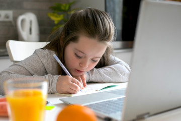 Pretty cute schoolgirl 7-8 years old studying at home. Home school, online education, home...