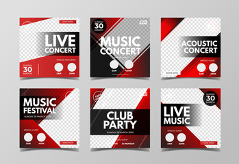 Live music concert banner template for social media post, flyer and web banner