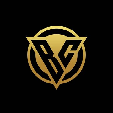 BC logo monogram with triangle shape and circle rounded isolated on gold colors