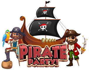 Spoed Foto op Canvas Kids Font design for word pirate party with pirate and big ship
