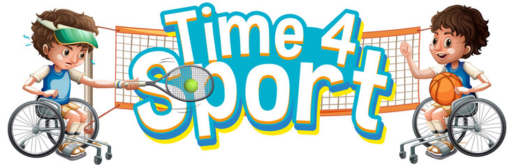 Spoed Foto op Canvas Kids Font design for word time for sport with two boys in wheelchair playing sports
