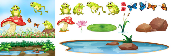 Background scene with happy frogs in the pond