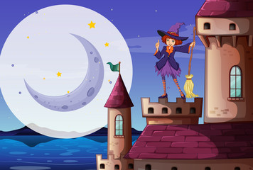 Scene with cute witch with broom standing on the castle tower