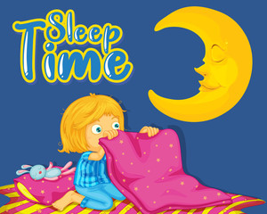 Spoed Foto op Canvas Kids Font design for word sleep time with girl sleeping at night