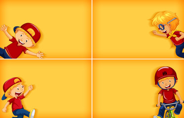 Four background template designs with happy boy doing different activities