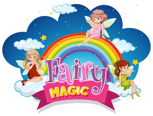 Font design for word fairy magic with fairies flying at night