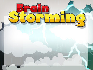 Font design for word brain storming with clouds in background