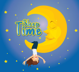 Spoed Foto op Canvas Kids Poster design for word sleep time with girl on the moon