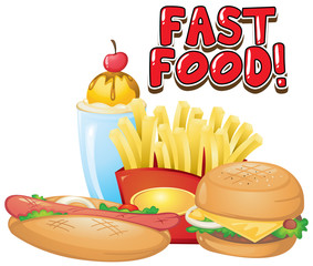 Spoed Foto op Canvas Kids Font design for word fastfood with many kind of food